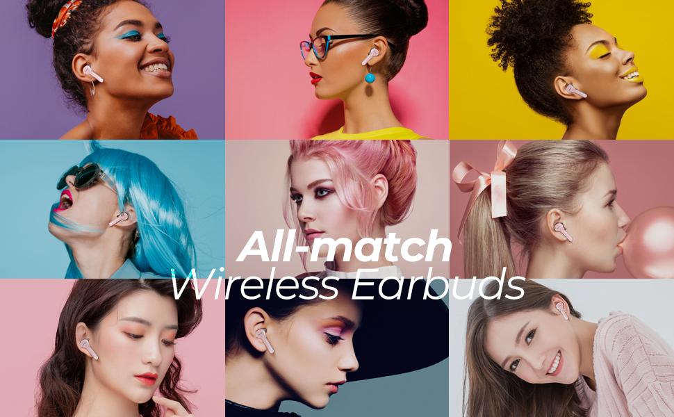 wieless earbuds bluetooth5.0 earphones Bluetooth headphones pink mini microphone mic earbuds women