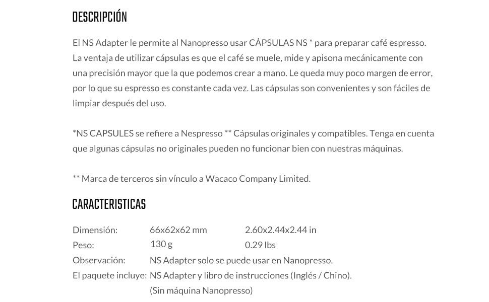 WACACO Nanopresso NS Adaptador, accesorios para la máquina de café ...