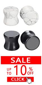 2 Pairs Black Onyx & White Turquoise Stone Ear Gauges Plugs