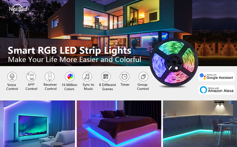 Smart LED Strip Lights Works with Alexa Google Home 16.4ft RGB WiFi Dimmable Strip Tape Light