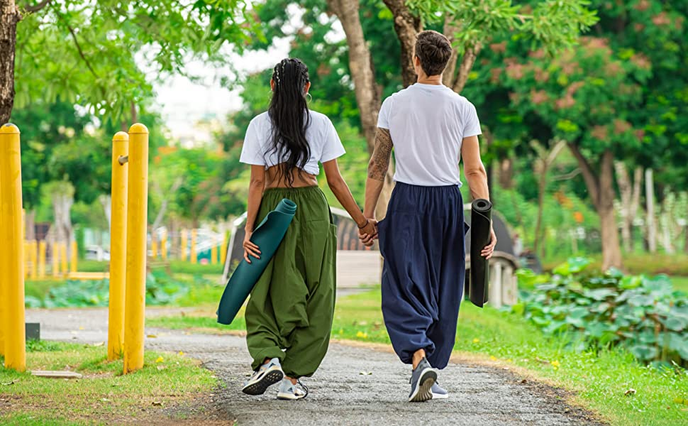 mens womens loose lounge baggy aladdin hippie boho maternity yoga harem pants for men women cotton