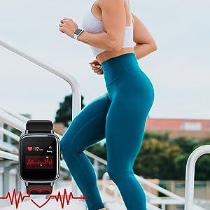 Mcnnadi Smart Watch Fitness Tracker Health Monitor -Heart Rate