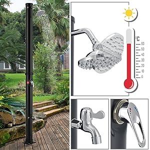 Solardusche 2-teilig Garten Pool Camping Duschkopf Hahn Fußdusche 35L Silber