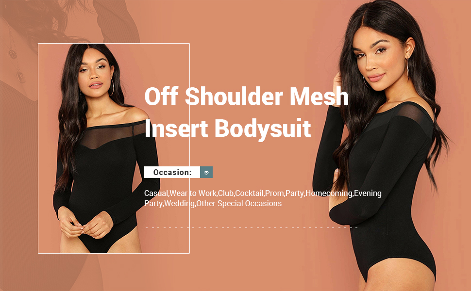 Milumia Womens Long Sleeves Mesh Insert Off Shoulder Tops Stretch Solid Bodysuit