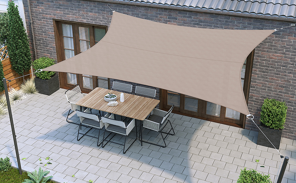 SONGMICS Vela Parasol de 3 x 5 m, Resistente al Agua Mínimo de 1000 mm, Protección UV93%, Poliéster, Resistente a Desgarros Intemperie, para Patio del ...
