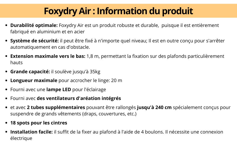 Foxydry Air 120 /Étendoir /à linge suspendu t/él/écommand/é mur ou plafond