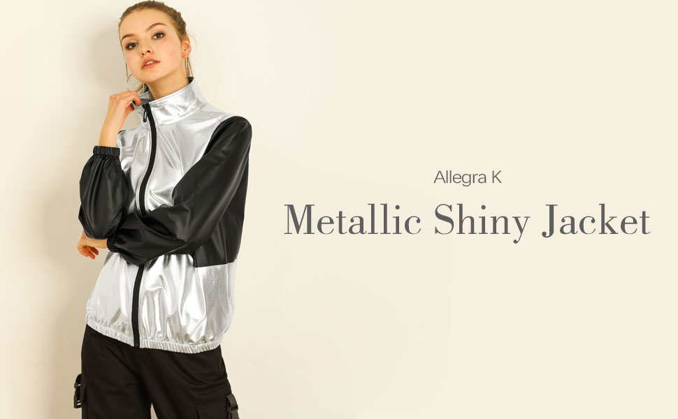 Allegra K Women's Metallic Long Sleeves Zipper Reflective Contrast Sport Jacket
