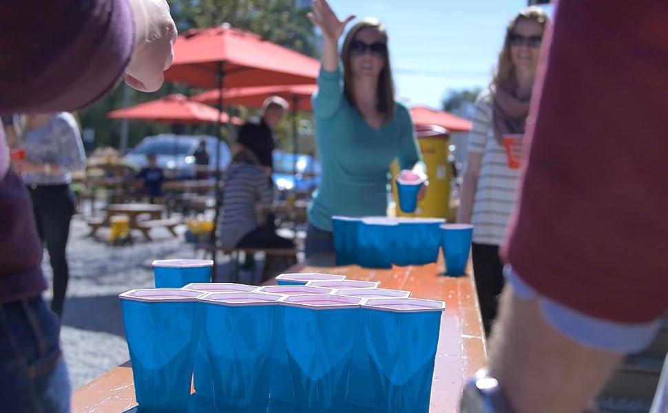 Hexcup beer pong cup set and beer pong balls