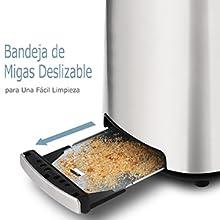 Tostadora Pan, COOCHEER 2 Rebanadas Ranuras Anchas de Tostadora ...
