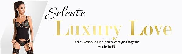 Slip et Bandeau pour Les Yeux en Satin Selente Luxury Love Raffin/é Ensemble de Lingerie /à 3 pi/èces gu/êpi/ère Fabriqu/é dans lUE