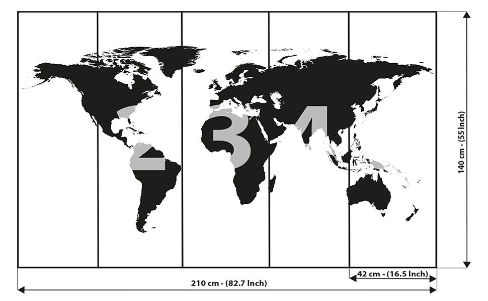 GREAT ART Mural de Pared – Mapa Mundial en Blanco y Negro – Mapa Continentes Mapa del Mundo Globo Tierra Geografía Mundial Foto Papel Pintado Y Tapiz Y Decoración (210 x 140