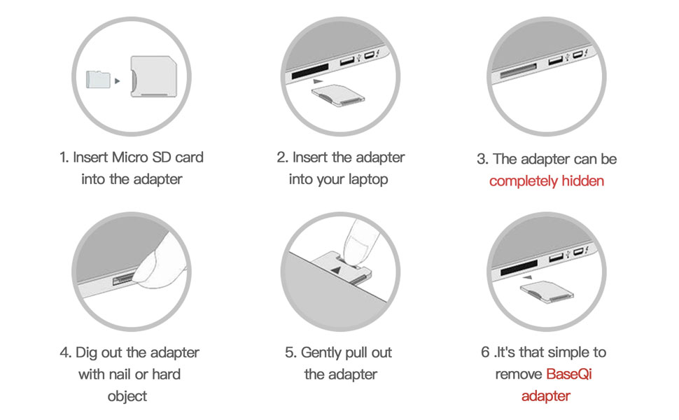 6 icons to show how to insert Baseqi micro SD adapt