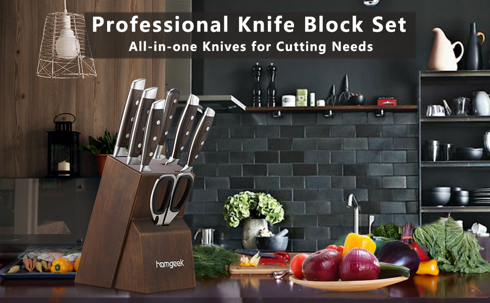 knife block set 8 pieces for kitchen