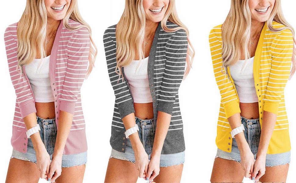 3/4 sleeve cardigan sweaters for women