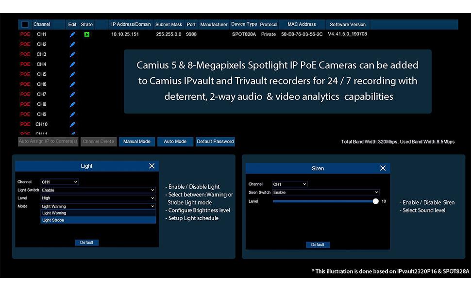 camius spotight 4k ip camera with ipvault nvr