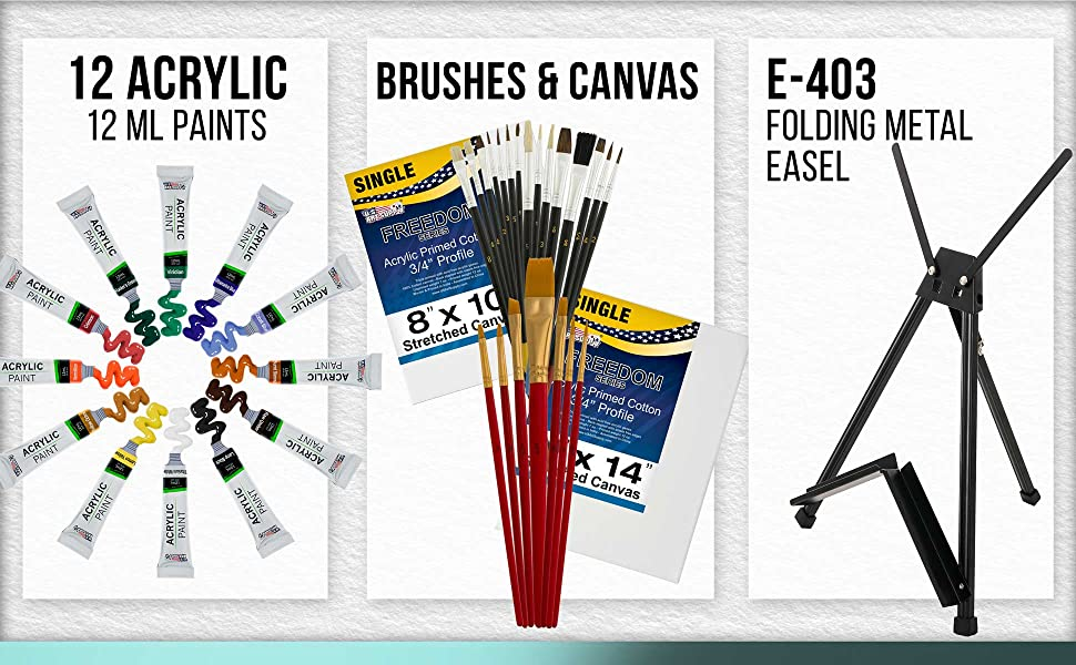 U.S. Art Supply Artist Set ACrylic 39 Piece Kit