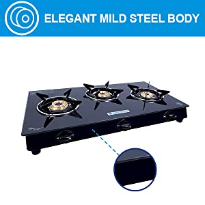 mild steel body, gas stove with induction bottom, gas stove with brass burner, gas burner