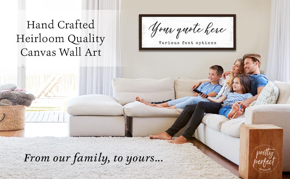 Custom Your Quote Here sign to personalize canvas wall art for the family home living room dining