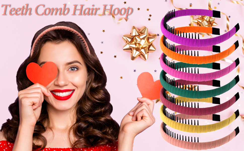 Package includes 12 pieces teeth comb headband with 12 different colors for women and girls