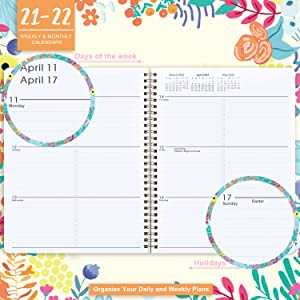 2021-2022 monthly weekly planner