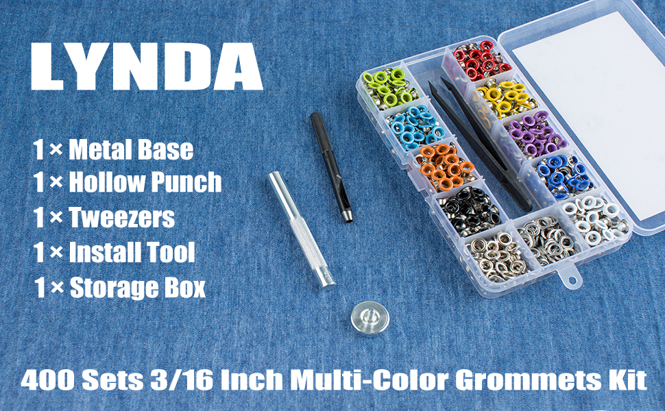 1//4 Inch Grommet Tool Kit Hotetey 360 Sets Multi-Color Metal Grommet Eyelets Kit with Installation Tools 12 Colors