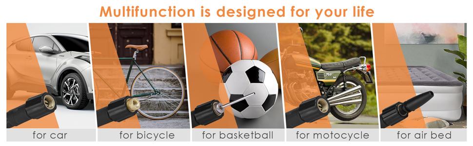 DIYARTS Mini Pompe Gonfleur de V/élo Alliage dAluminium Portable Gonfleur de V/élo L/éger Poids France et Am/éricain Bec pour VTT V/élo de Route Football Basketball Gonflable Jouets 120PSI