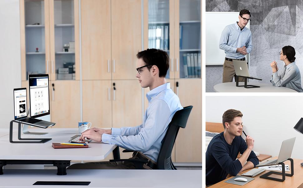 Ergonómico Soporte para Ordenador Portátil Aluminio Soporte para Portátil Desmontable Laptop Stand