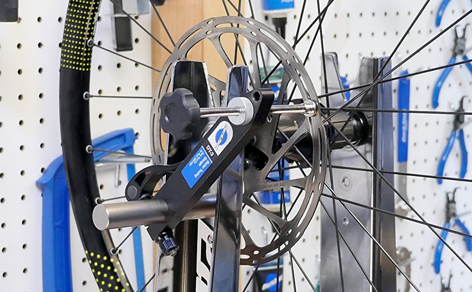 Park Tool DT-3 installed on TS-2.2 Truing Stand