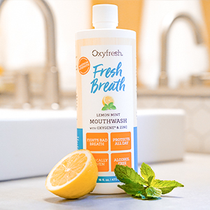 Oxyfresh fresh mint mouthwash is a non fluoride mouthwash that's safe and gentle for whole family.