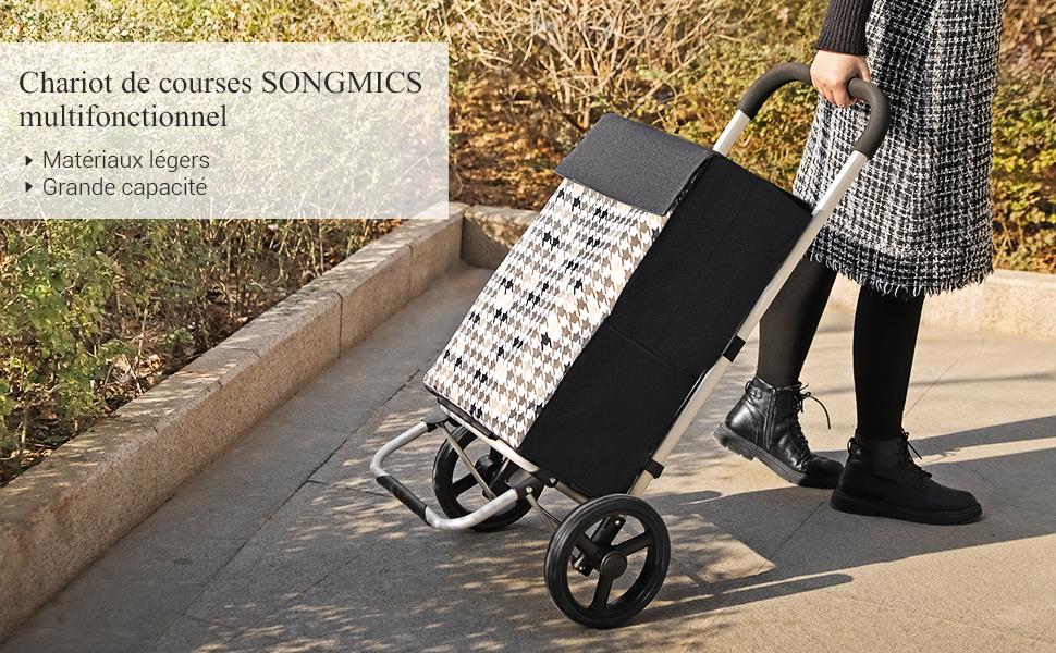 Crochet Caddie Noir KST06BF capacit/é 40L Poussette de march/é avec rangements Motif Pied-de-Poule 47 x 33 x 97 cm Roues silencieuses SONGMICS Chariot de Courses