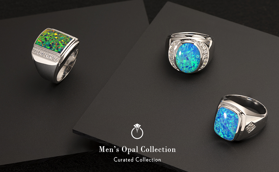 Peora Created Black Fire Opal Godfather Ring for Men in Sterling Silver Sizes 8 to 13