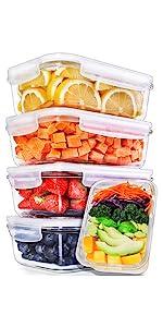 compartiments rectangulaires en verre Igluu conteneurs de préparation de repas plateaux sectionnés