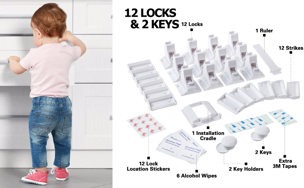 cabinet locks with key, magnetic lock, baby safety kit, cabinet latch, cabinet door magnets