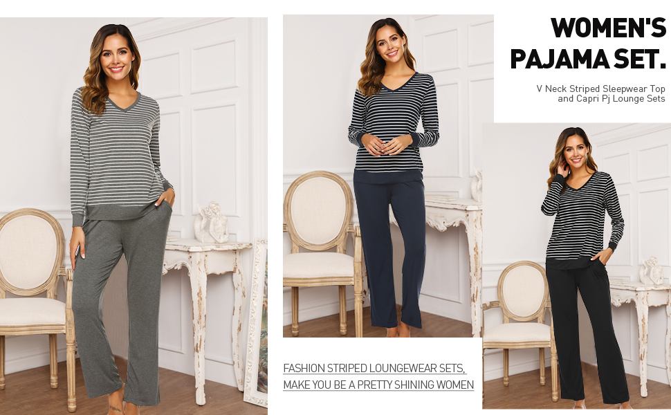 Striped pajamas for women
