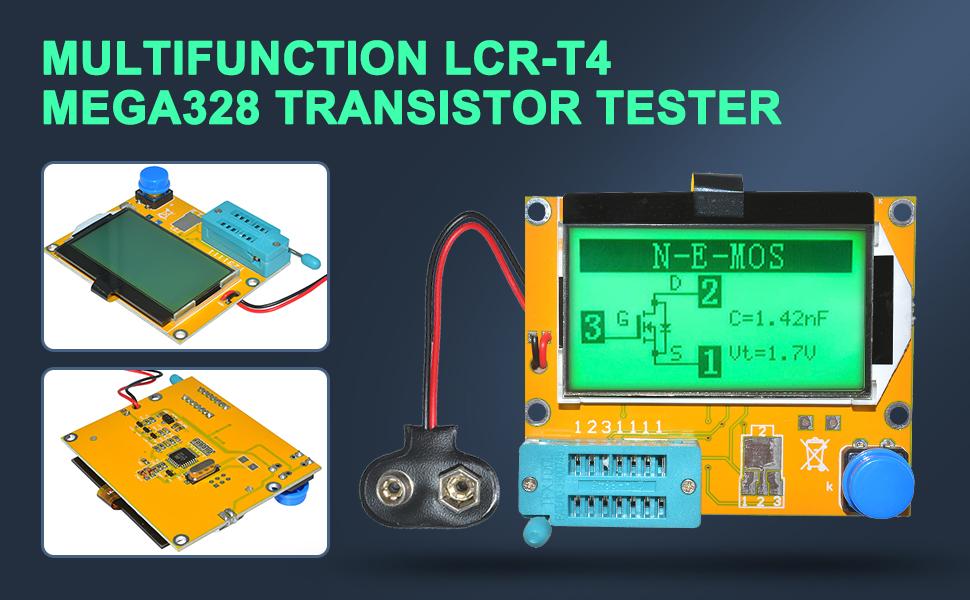 boucle de batterie avec /étui diymore LCR-T4 ESR Testeur de transistor diode triode capacitance SCR inductance Mega328 MOS PNP NPN avec crochets de test