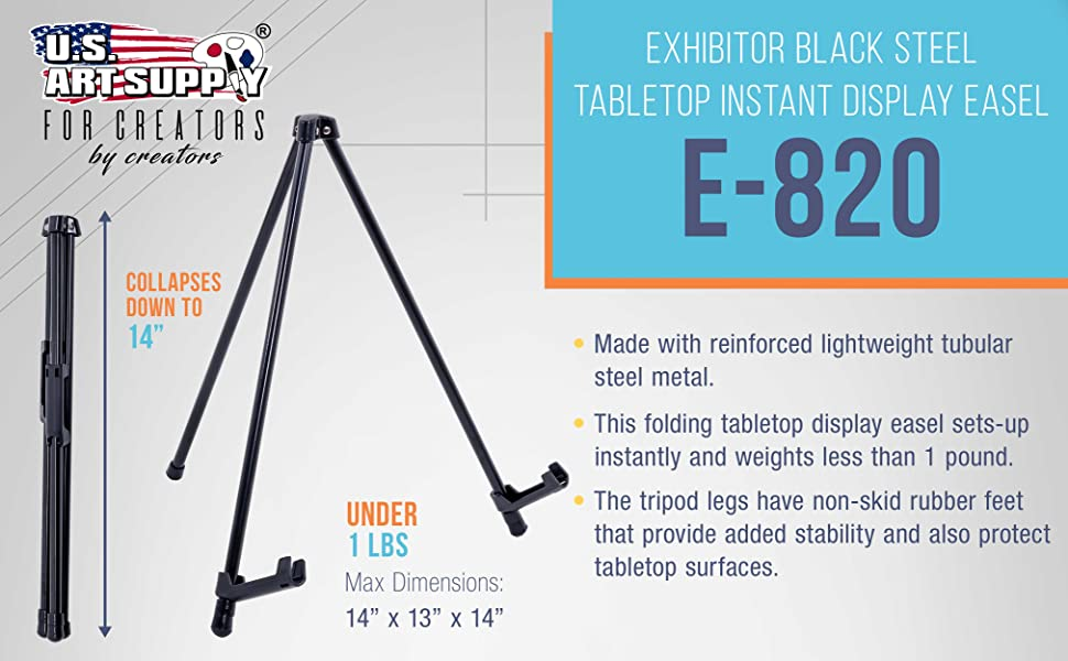 """US Art Supply 14/"""" Tall Black Steel Tabletop Instant Display Office Easel 6-Easel"""