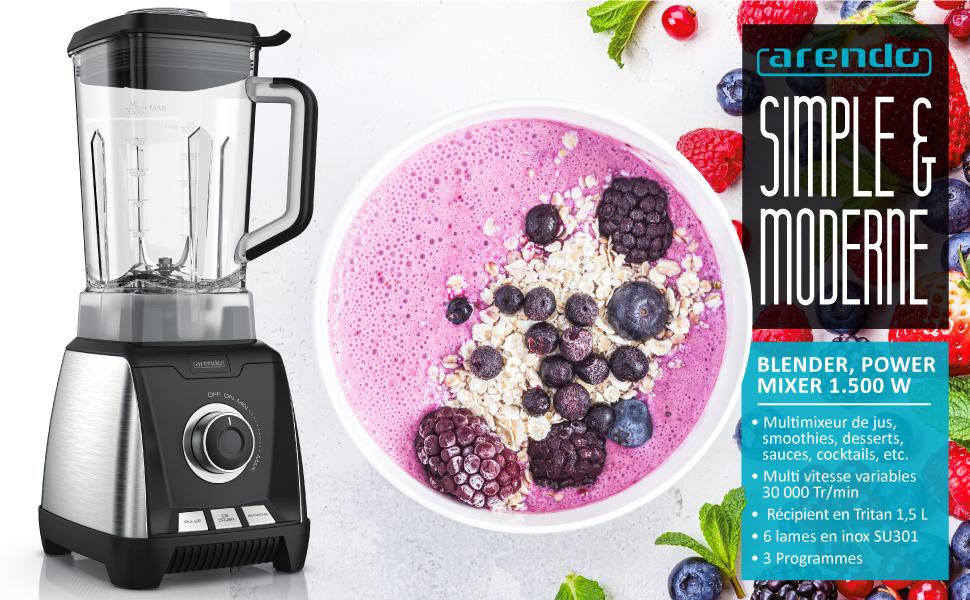 304831 Arendo - Blender smoothie et milkshake professionnel - Power mixer 1500W