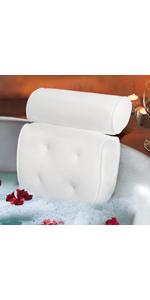 Bath Pillow Spa Bathtub Cushion Head Neck Shoulder Back Support Rest 4 Non-Slip Strong Suction Cups
