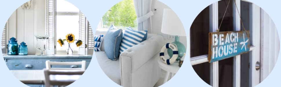 indoor outdoor hanging blue beach house vacation beachy nautical summer home