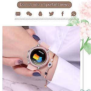 smart watch message reminder information notification bluetooth watch for women gold silver