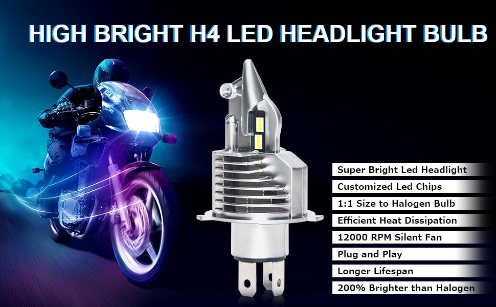 Motorcycle h4 led headlight bulbs