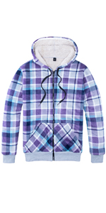 Women's Sherpa Lined Zip Up Hooded Plaid Shirt Jac