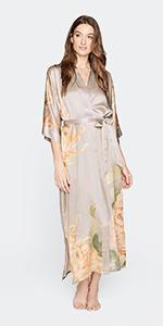 KIM+ONO Women's Washable Silk Kimono Robe Kiku Willow