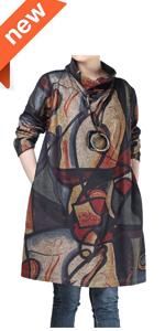 Minibee Women's Corduroy Midi Skirt Front Split Buttons Decoration A-Line Dress