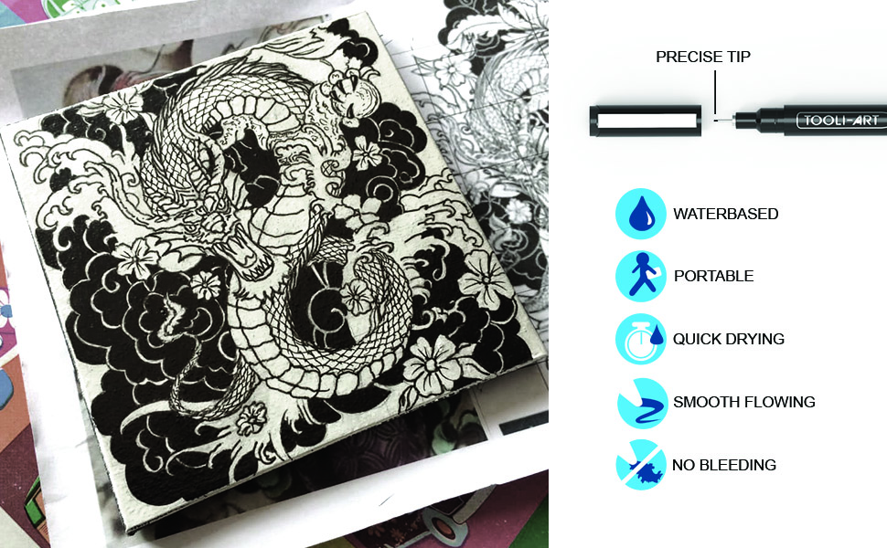 pens used on canvas ink drawing of dragon. waterbased, portable,quick drying,smooth flowing,no bleed