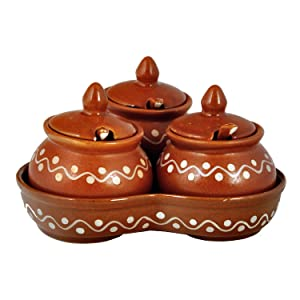 ceramic Pickle Jars set container serving for dining table Diwali Gift Items storage spices handmade