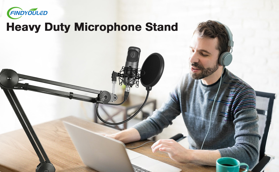 """Adjustable Suspension Boom Scissor Mic Stand with Pop Filter, 3/8"""" to 5/8"""" Adapter, Mic Clip"""