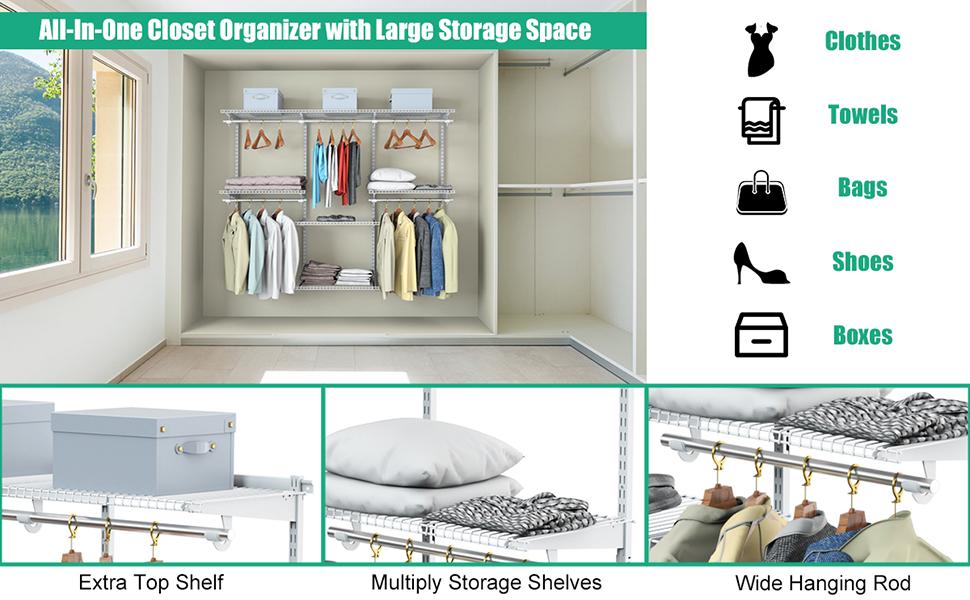 Topbuy Wall Mounted Custom Closet Adjustable Hanging Storage Organizer Rack