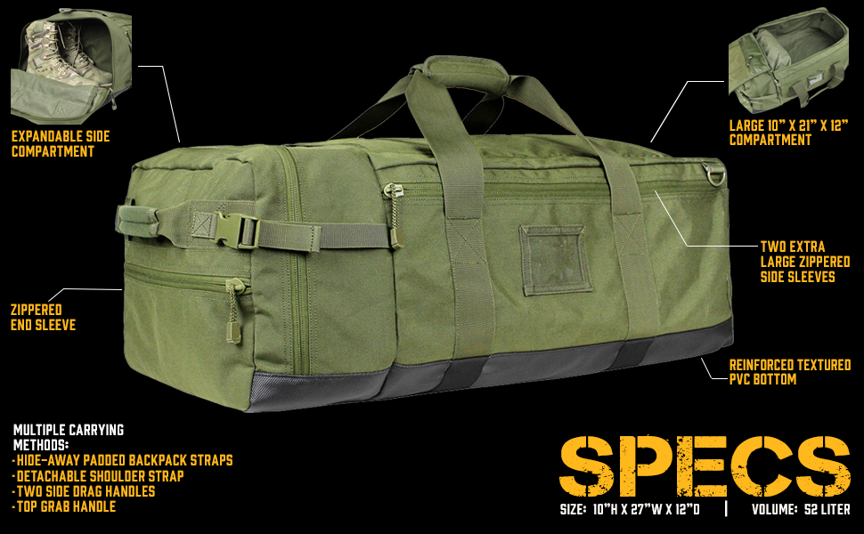 condor, colossus, duffle, duffel bag, military, pack, bag, specs, specifications, features