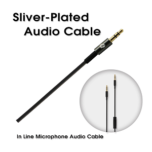 Sliver-Plated Audio Cable, In Line Microphone Audio Cable